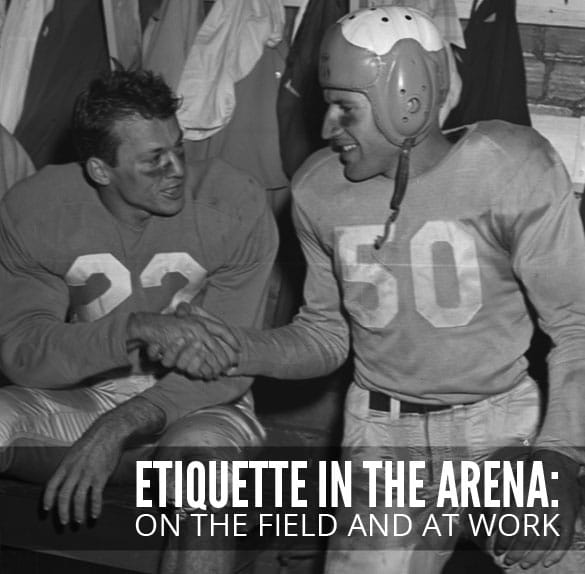 vintage football players shaking hands after game etiquette