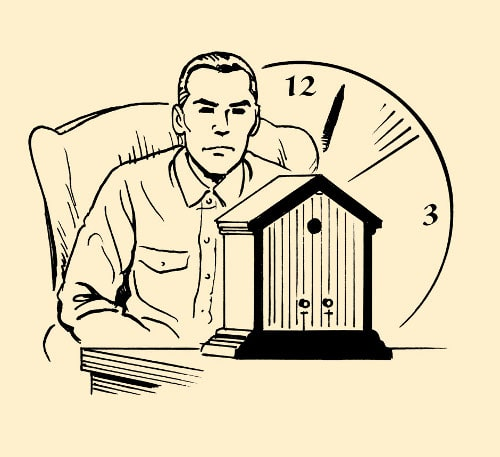 man staring at clock watching hands illustration