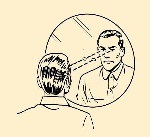 man looking at himself in mirror illustration