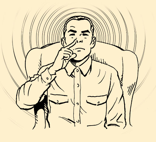 man in chair plugging nose nostril illustration