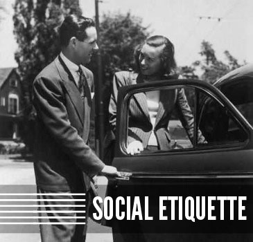 vintage man opening door for woman on date etiquette