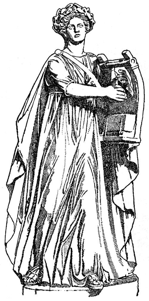 Apollo Greek god black white drawing full robes.