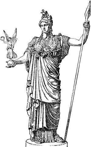 Pallas Athena (Minerva) with spear and figurine in hand