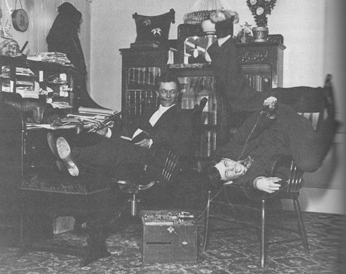 vintage college roommates in dorm reading goofing off