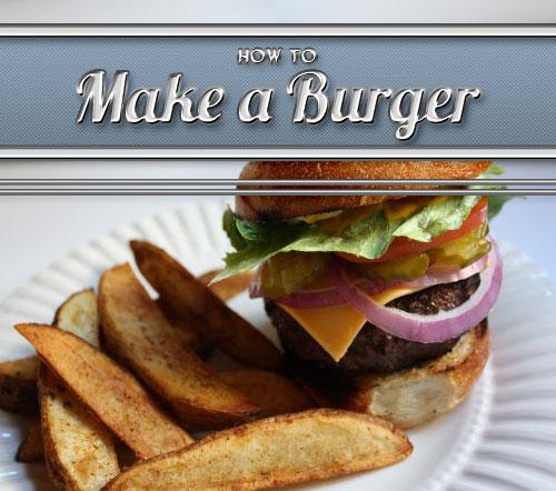 Vintage how to make burger illustration.