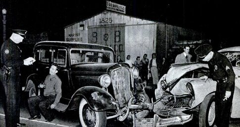 Vintage 1930s car accident wreck police on scene inspecting.