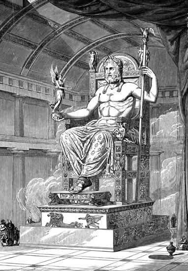 zeus greek god on throne shirtless illustration