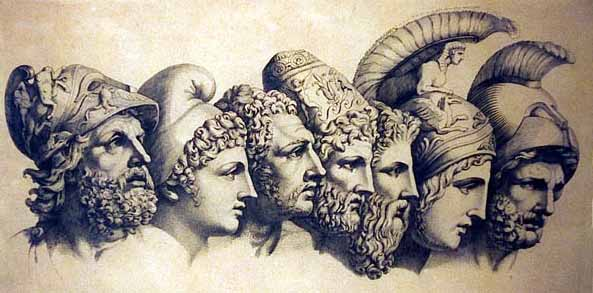 Greek gods and goddesses faces staring off illustration.