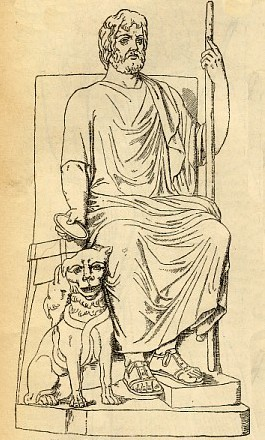 hades pluto greek god on chair with dog by side
