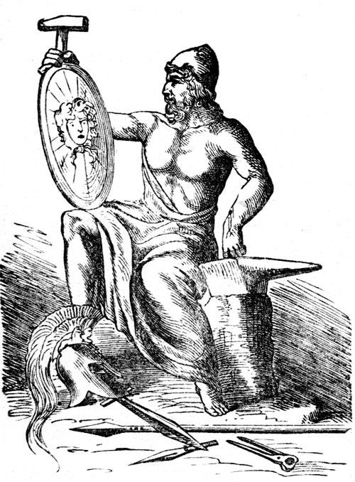 Hephaestus (Vulcan) black white drawing looking at shield.