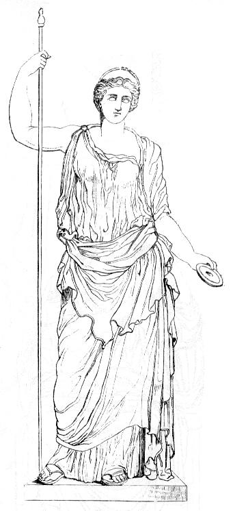 Hera Juno Greek goddess standing with robe pole.