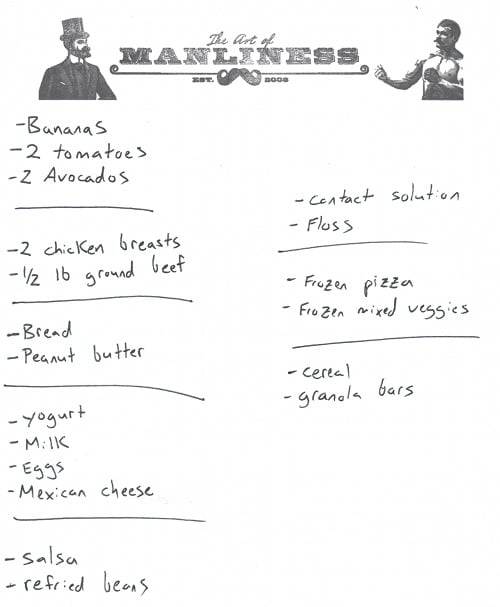 sample grocery food list for shopping at store organizing