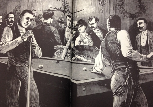 vintage police gazette illustration pool hall