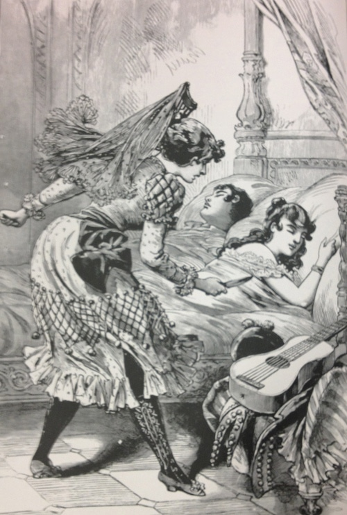 illustration Scorned woman with a knife to kill her husband and his lover.