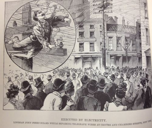 vintage police gazette illustration man electrocuted telegraph lines