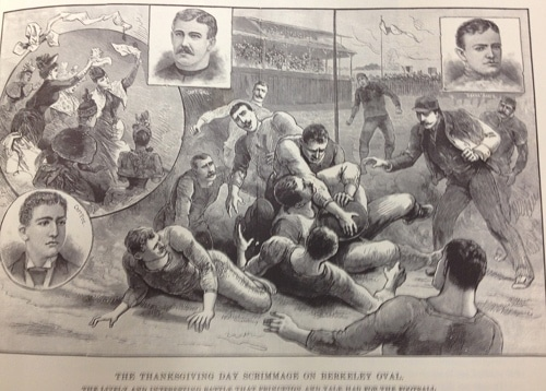 Football scrimmage on Berkeley Oval at Yale College illustration police gazette