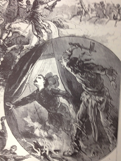 vintage police gazette illustration native american attacking soldier