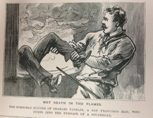vintage police gazette illustration man saving someone from fire