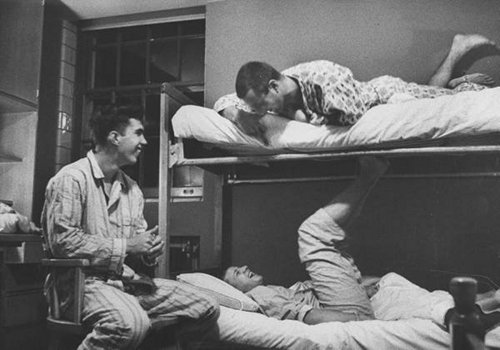 vintage college roommates bunk beds pajamas laughing