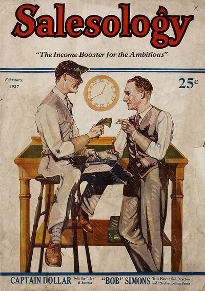 Vintage salesology, book cover.