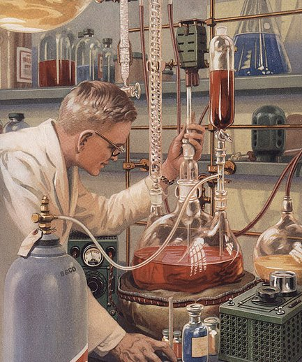 Vintage scientist man in lab with beakers fluids illustration.