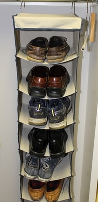 shoe organizer hanger in closet