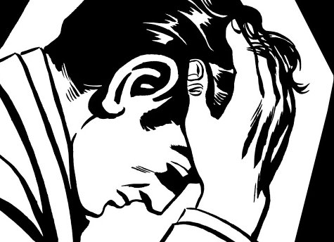 Black white illustration man with head in hands and looking stressed.