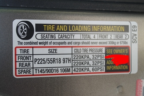 recommended tire pressure sticker inside car