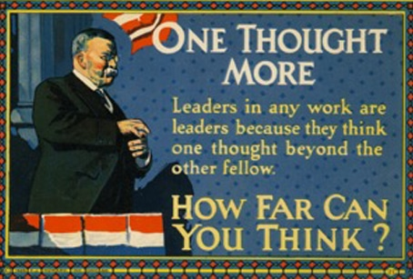 Vintage motivational business poster one thought more.