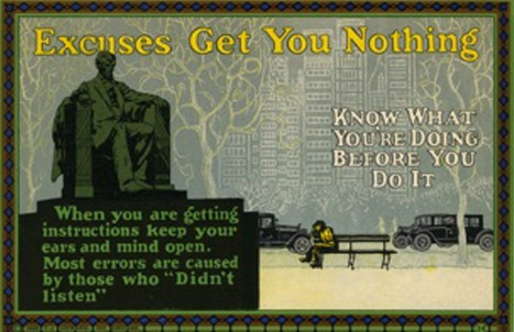 vintage motivational business poster excuses get you nothing