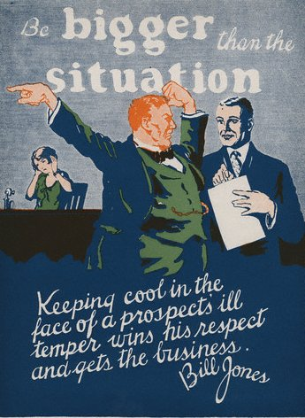 vintage motivational business poster keeping cool temper