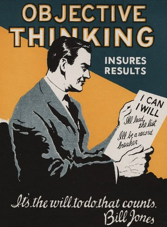vintage motivational business poster objective thinking will