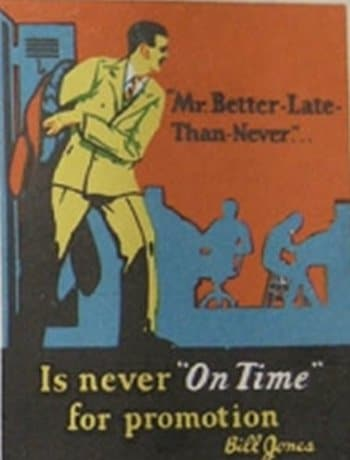 vintage motivational business poster on time late