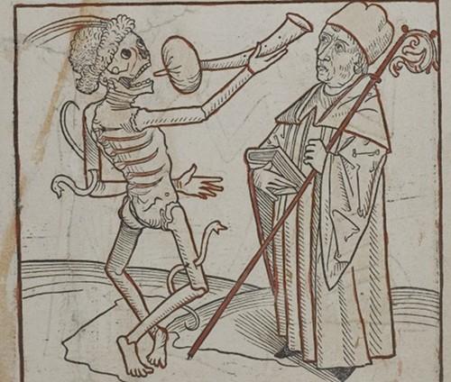 15th century dance of death woodcut art