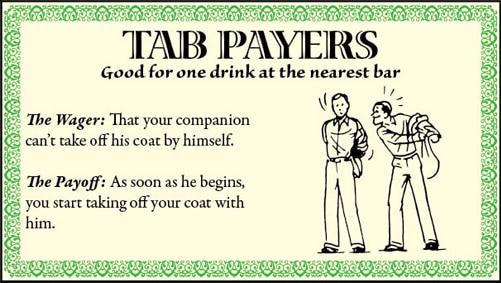 bar game trick take coat off illustration