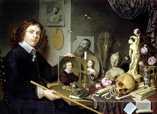 Self-Portrait with Vanitas Symbols by David Bailly, 1651