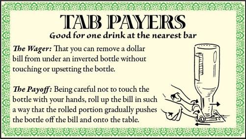 bar game trick dollar bill inverted bottle illustration