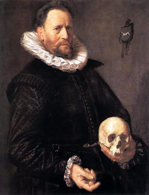 Portrait of a man holding a skull by Frans Hals, 1615.