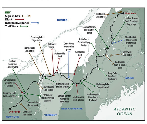 The Northern Forest Canoe Trail map