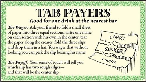 bar game trick name on paper illustration