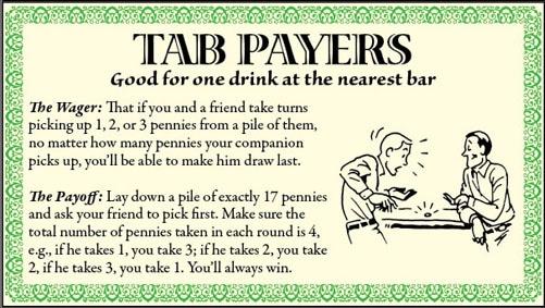 bar games tricks pile of pennies