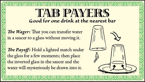 bar game trick transfer water in saucer to glass illustration