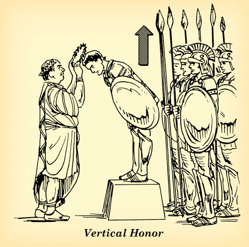 vertical honor roman emperor placing crown on solider's head illustration