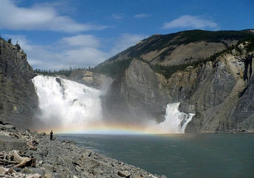 virginia falls nahanni river rainbow on water