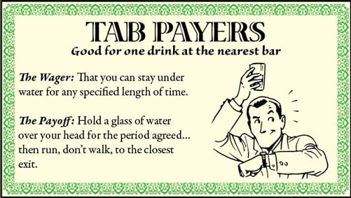Bar game trick stay under water illustration.