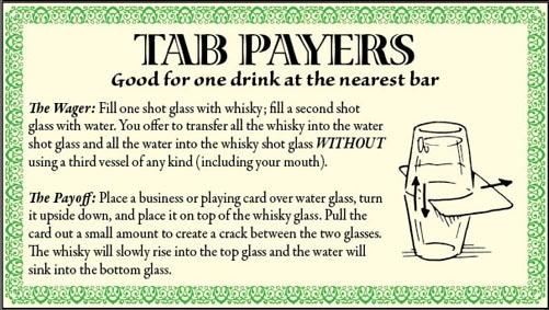 Bar game trick water whiskey shot glass illustration.