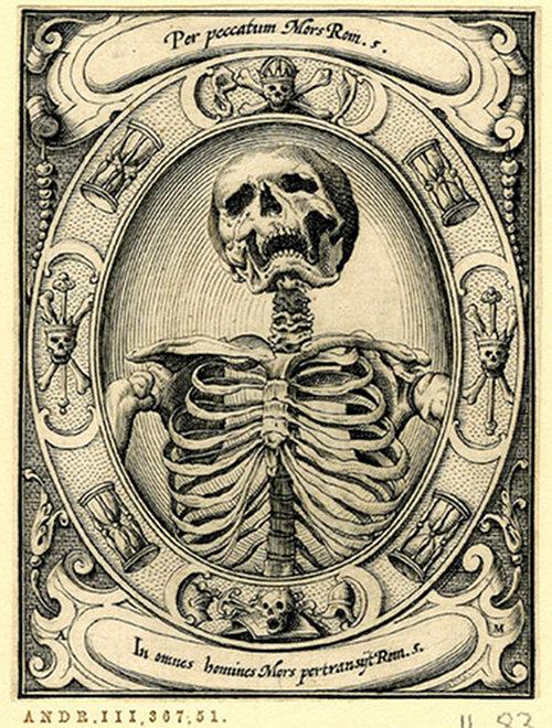 Memento mori woodcut by Alexander Mair, 1605.