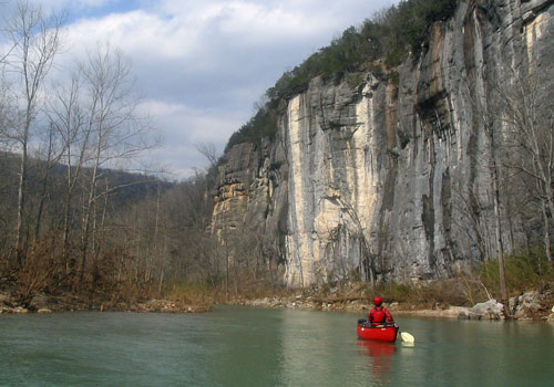 cliffs along buffalo national river canoe in front