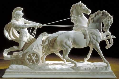 allegory of chariot phaedrus small statue man reigning horses