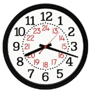 clock illustration with military time hours displayed